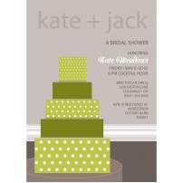 Wedding Cake Bridal Shower Printable Invitation - Green
